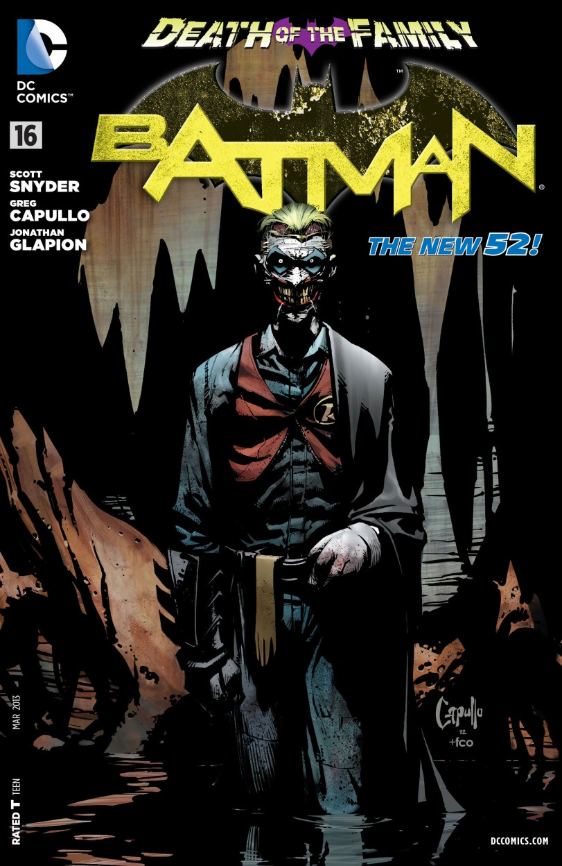 "Cover of ""Batman"" #16 showing Joker in Robin's costume."