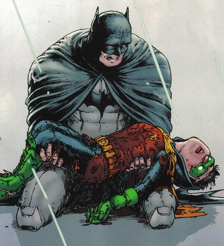 "Batman cradles his dead son in ""Batman Incorporated"" #8"