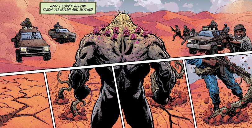 Yes, Swamp Thing can become a cactus. Cacti are plants, he's in the desert. It just makes sense, dammit!